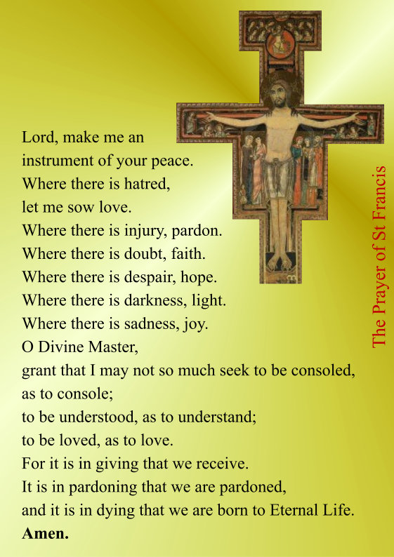 graphic about St Francis Prayer Printable identified as St Francis - S Stephens, AdamstownS Stephens, Adamstown